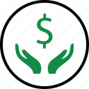 business, dollar, hand, hands, money, sign, wealth icon