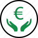 business, euro, hand, hands, money, sign, wealth icon