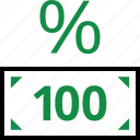 bill, dollar, hundred, one, percentage, rate, revenue icon