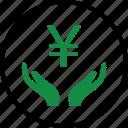 business, hand, hands, money, rich, wealth, yen icon
