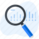 analysis, business, chart, data, magnifier, research, search icon