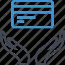 card, credit, debit, hand, hands icon