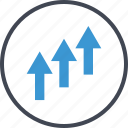 arrow, going, money, revenue, up icon