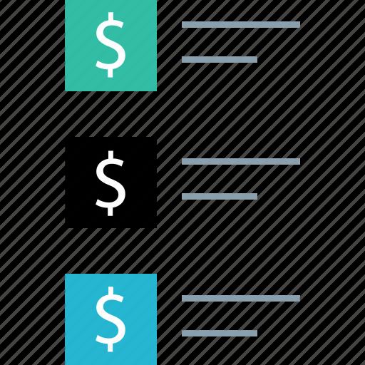 dollar, list, listing, sign icon
