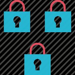 locks, secured, security, three icon