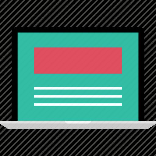 internet, laptop, mockup, online, web icon