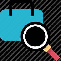 briefcase, case, find, search icon