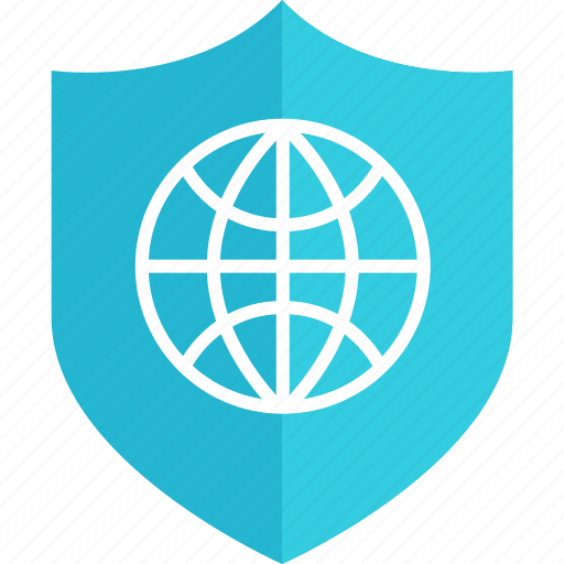 globe, internet, online, secured, shield, web icon
