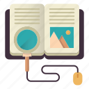 book, find, information, knowledge, online education, search icon