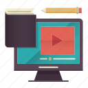 blended, learning, online education, tutorial, video icon