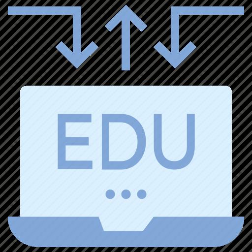 arrows, education, laptop, online education, study icon