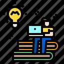 education, elearning, laptop, man, online