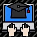 education, elearning, graduate, laptop, online