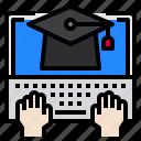 education, graduate, hand, laptop, screen