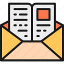 education, envelope, invitation, letter, mail, page, study icon