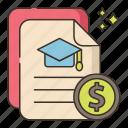 education, money, scholarship icon