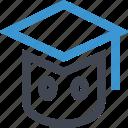 cap, graduation, learning, staff, student icon