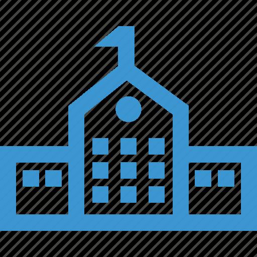 campus, desk, front, online, school, web icon