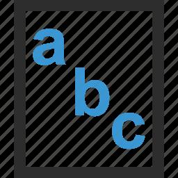 abc, homework, online, school icon