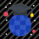 cap, education, geography, globe, graduation