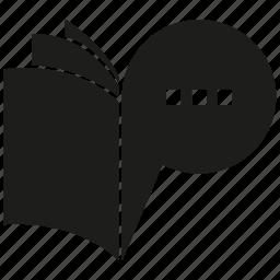 book, bubble, paper, speech bubble icon
