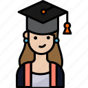 woman, student, avatar, education, graduation