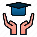 education, graduate, scholarship, school, study icon