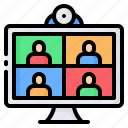 computer, conference, meeting, online, seminar, video, webinar icon