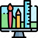 e-learning, education, learning, monitor, online icon