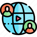 e-learning, education, learning, online, worldwide icon