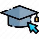 e-learning, education, graduation, hat, learning, online icon