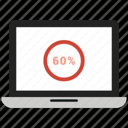 analytics, infographic, macbook graph, online, percentage icon