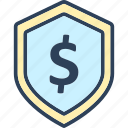 dollar, dollar label, dollar sign, dollar tag, protection icon
