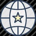 earth, favorite, global, star on globe icon