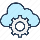 cloud, cloud cog, cloud computing, gearwheel icon