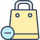 cancel, minus, remove, tote bag icon