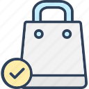 approved, check mark, shopping bag, shopping done icon