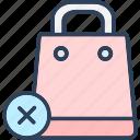 cancel, cross, shopping bag, sign icon