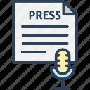 mic, news report, press, print media icon