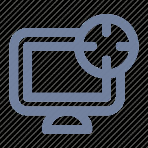 advertising, computer, cross-hairs, desktop, marketing, scope, target icon