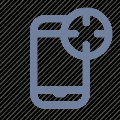 advertising, cross-hairs, marketing, phone, scope, smartphone, target icon