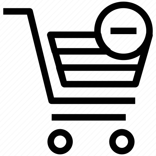 cart, checkmark, minus, minus product, minus shopping icon