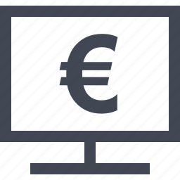 computer, euro, money, online, sign icon