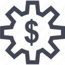 dollar, gear, money, online, sign, work icon