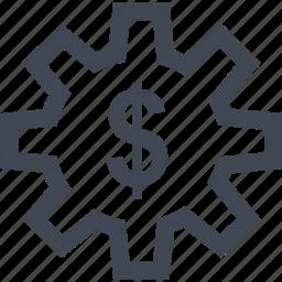 dollar, gear, money, online, sign, work icon