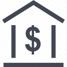 bank, dollar, home, loan, money, online, sign icon