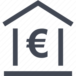 bank, euro, home, loan, money, online, sign icon