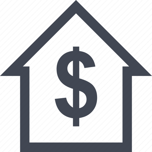 dollar, equity, home, money, online, sign icon