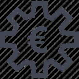 euro, gear, home, money, online, sign, work icon