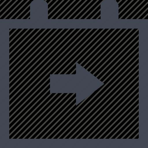 arrow, calendar, event, online icon